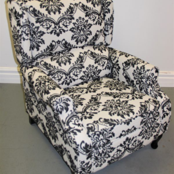Black and White Brocade Chair