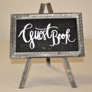 Grey Distressed Guestbook Easel