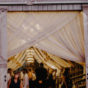 draping at a barn wedding by 307 events