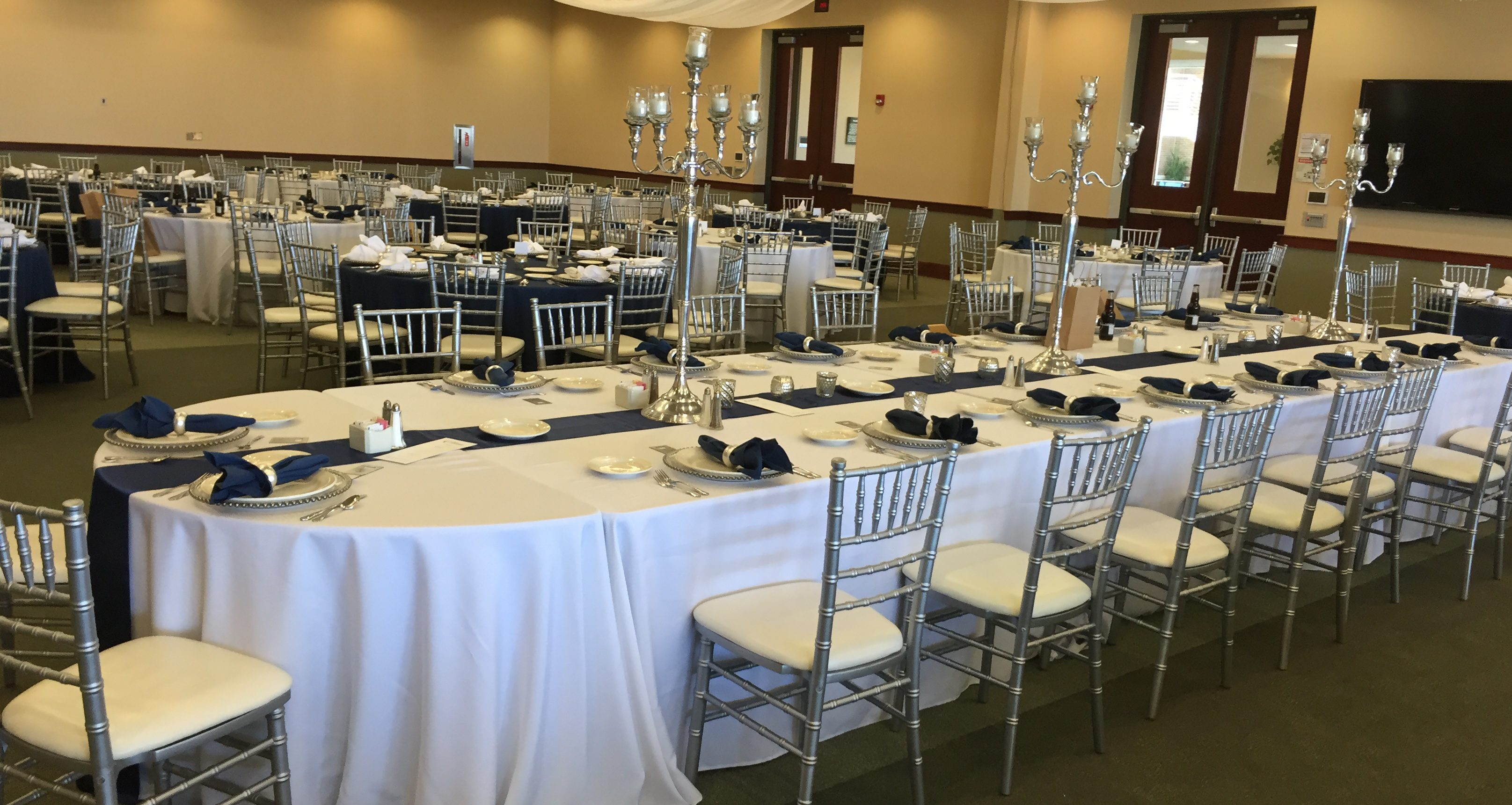 White Linens with Blue Table Runner - 307 Events