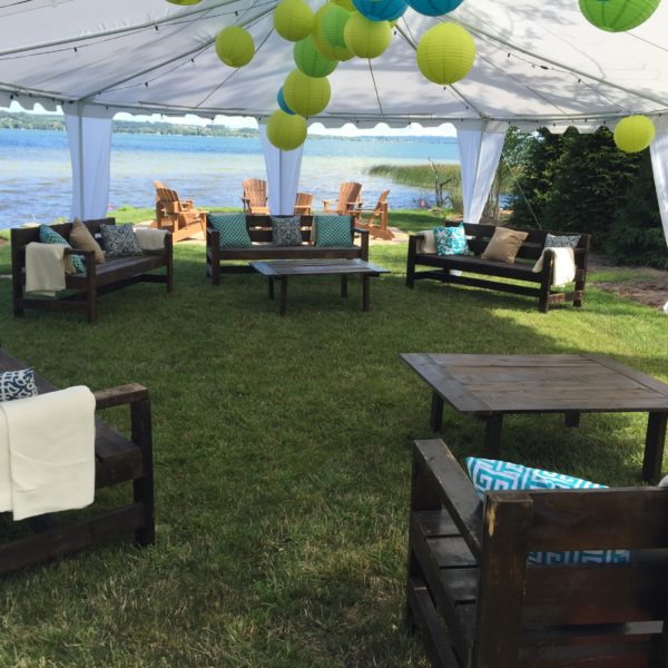 Green and Blue Lounge Area