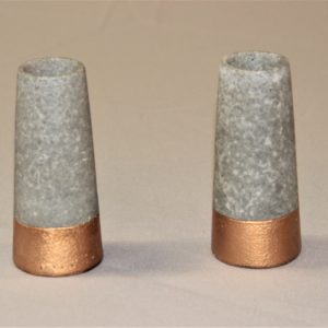 Cement and Bronze Bud Vase Holders