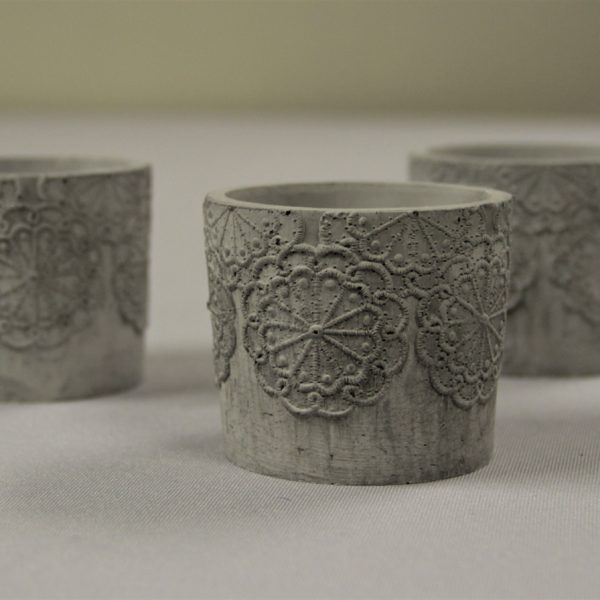 concrete lace votive holders with candles