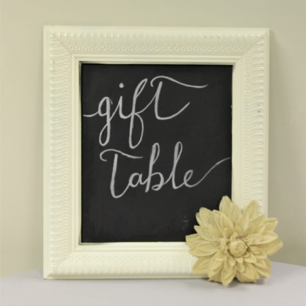 Cream Square Chalkboard Frame with Flower
