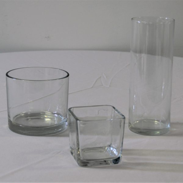 Glass Cylinders and Square Short Vase