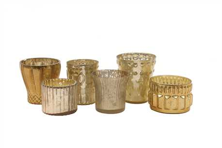 Gold and Cream Mercury Glass Holders