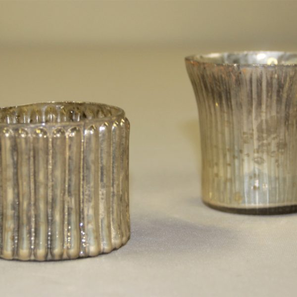 Mercurly glass candle holders with vertical lines