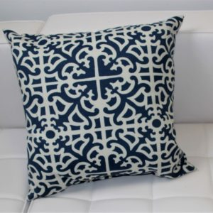Navy Blue Patterned Pillow