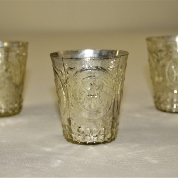 Silver Mercury Glasses with circular designs