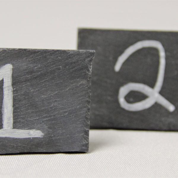 Slate Table Numbers with Chalk numbers