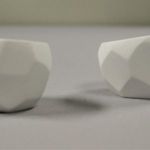 White Clay Geometric Candle Holders