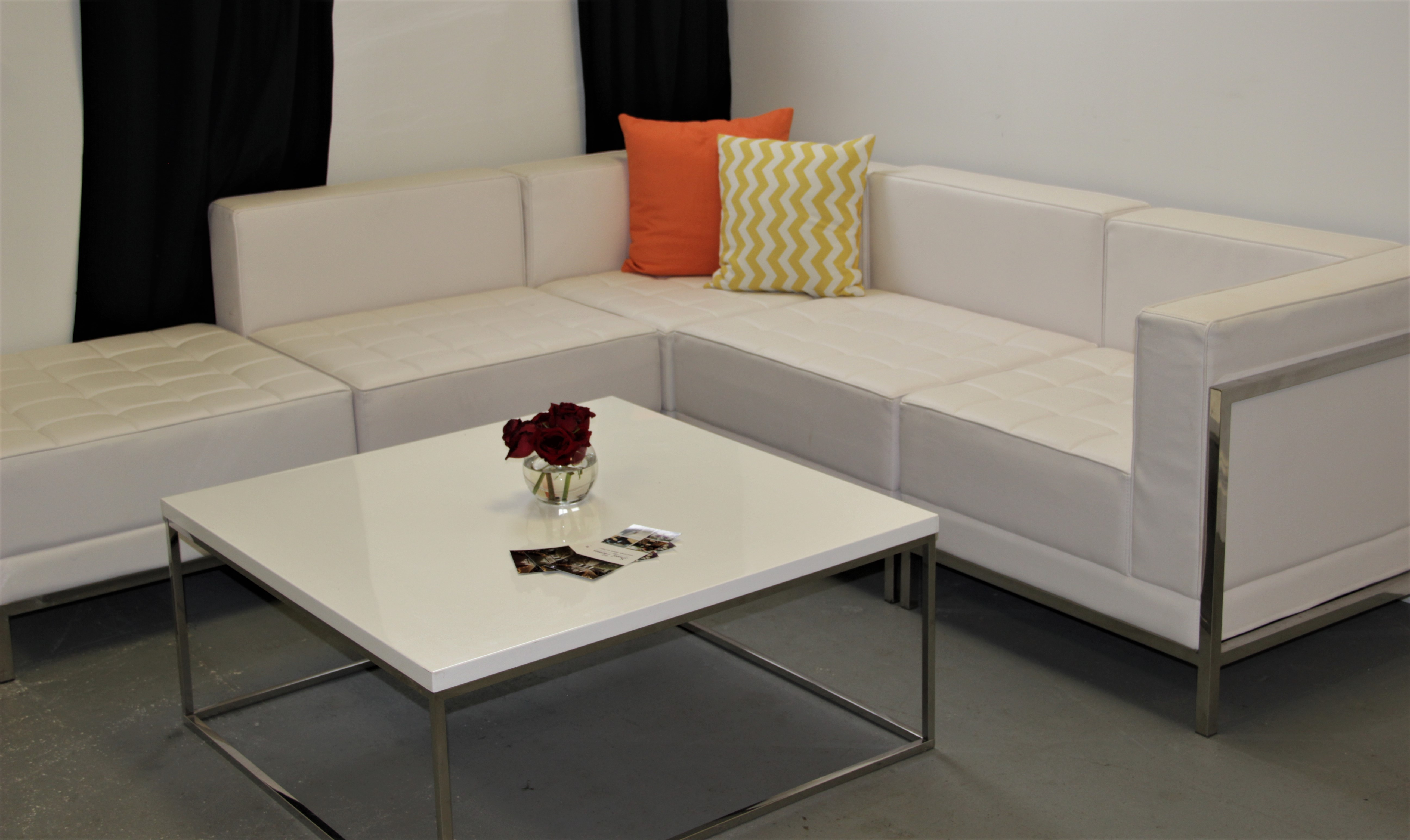 White Leather Lounge Furniture & Table price per piece