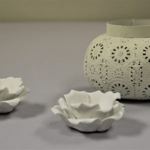 White Flower Tealight holders and round white lantern