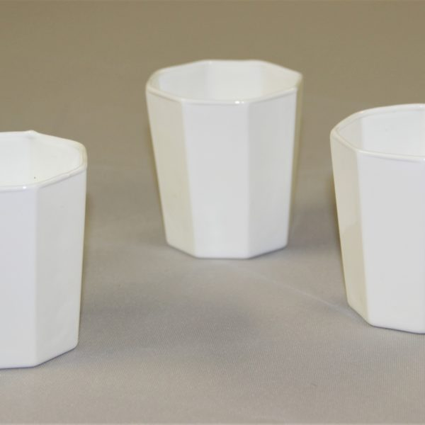 white hexagon candle holders