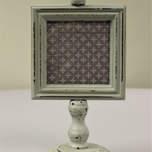 White Distressed Square Frame on Stand
