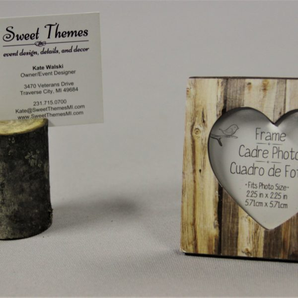 Wood Placecard holder and small wooden frame with heart opening