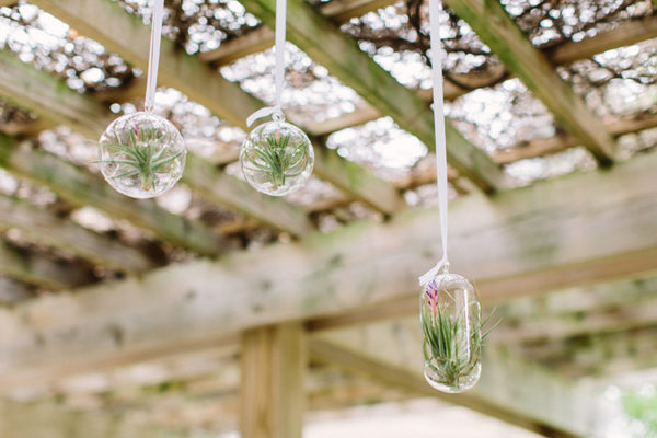 Hanging glass candleholders