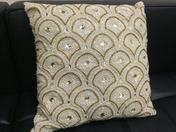 Pillow with Vintage Gold Beading