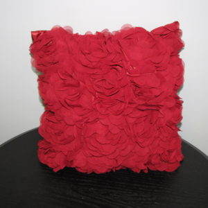 Pillow with Red Rose Design