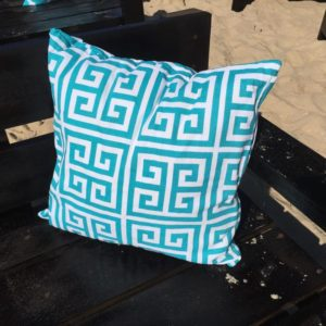 Turquoise Pillow with Aztec Design