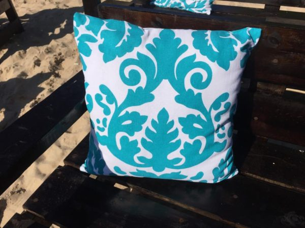 Turquoise Pillow with Brocade Design