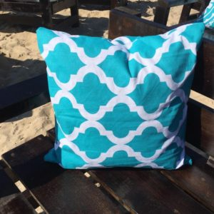 Turquoise Pillow with Criss-Cross Design
