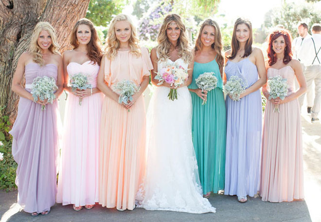 Mis-matched Bridesmaid Dress Colors. Source: Belle The Magazine