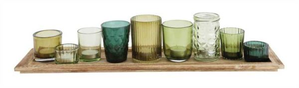Green Glass Votive Holder Set