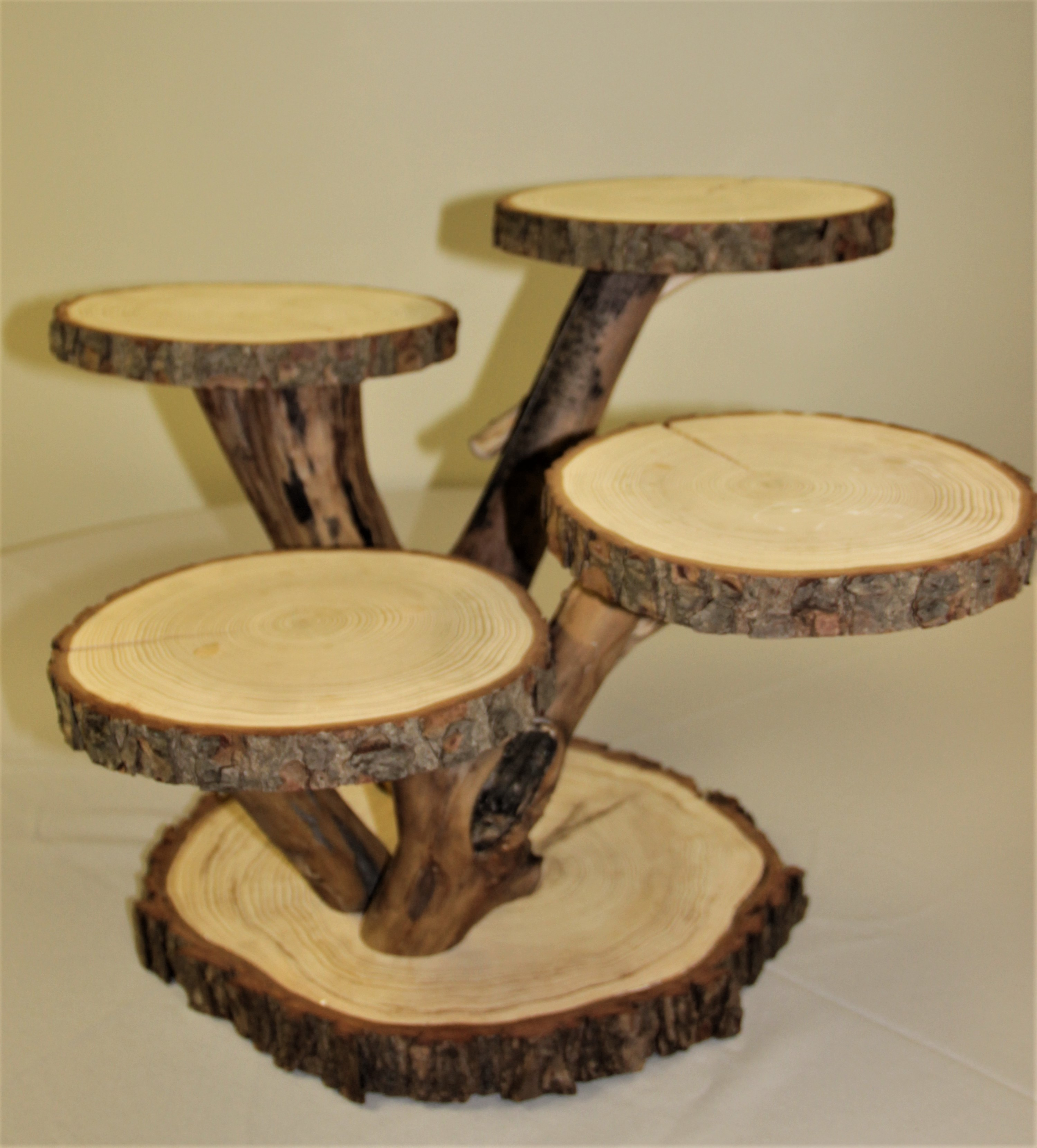tree branch wedding cake stand multi level wood slice display 307 events 21252